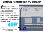 entering receipts from po manager