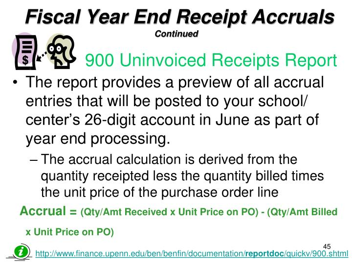 Fiscal Year End Receipt Accruals