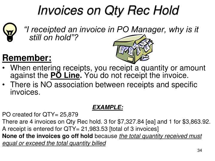 Invoices on Qty Rec Hold