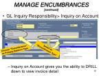 manage encumbrances continued