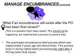 manage encumbrances continued1