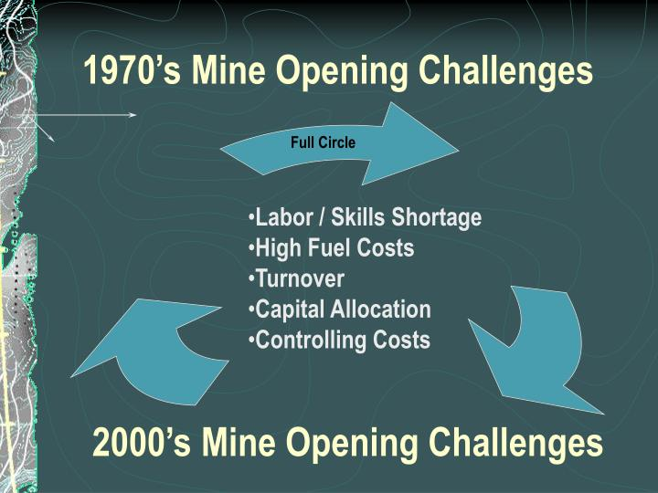 1970's Mine Opening Challenges