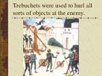 trebuchets were used to hurl all sorts of objects at the enemy