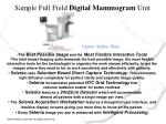 sample full field digital mammogram unit