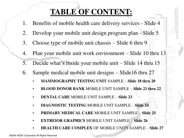 TABLE OF CONTENT: