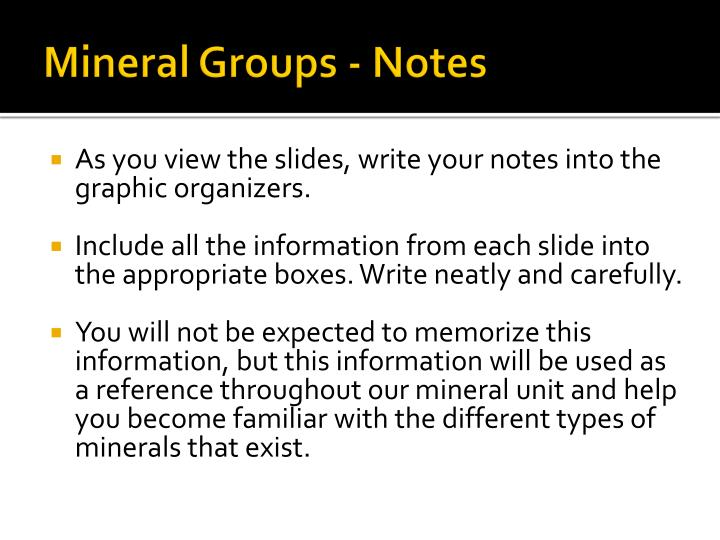 Mineral Groups - Notes