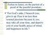 farkas to janos on the pursuit of a proof of the parallel postulate