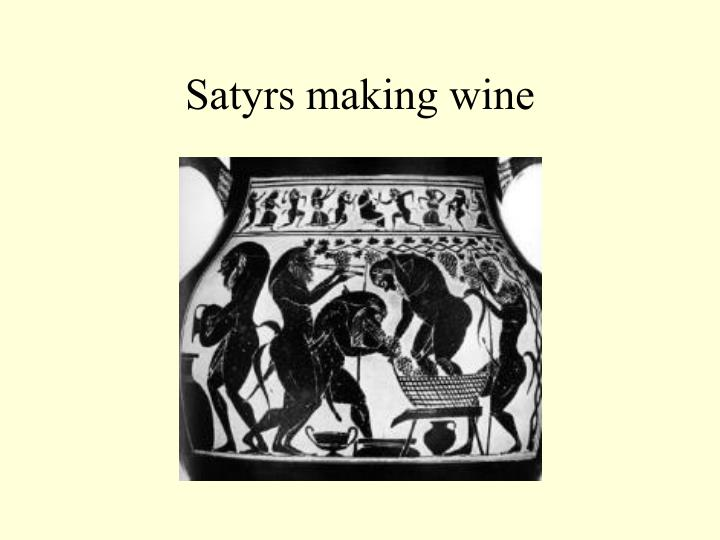 Satyrs making wine