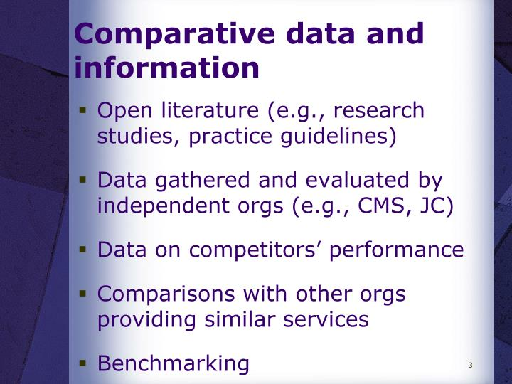Comparative data and information