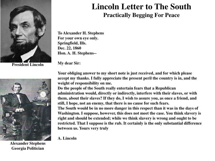 Lincoln Letter to The South
