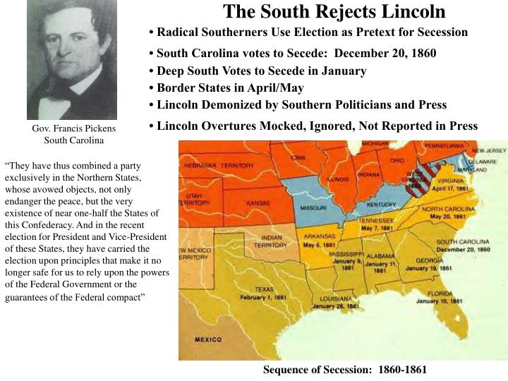 The South Rejects Lincoln