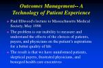 outcomes management a technology of patient experience