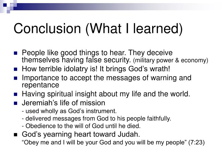 Conclusion (What I learned)