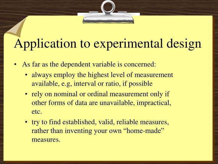 Application to experimental design