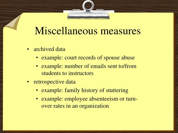 Miscellaneous measures
