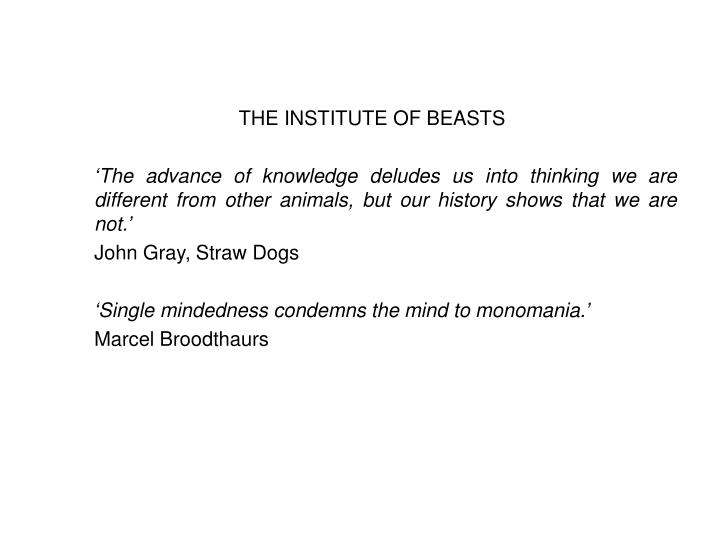 THE INSTITUTE OF BEASTS