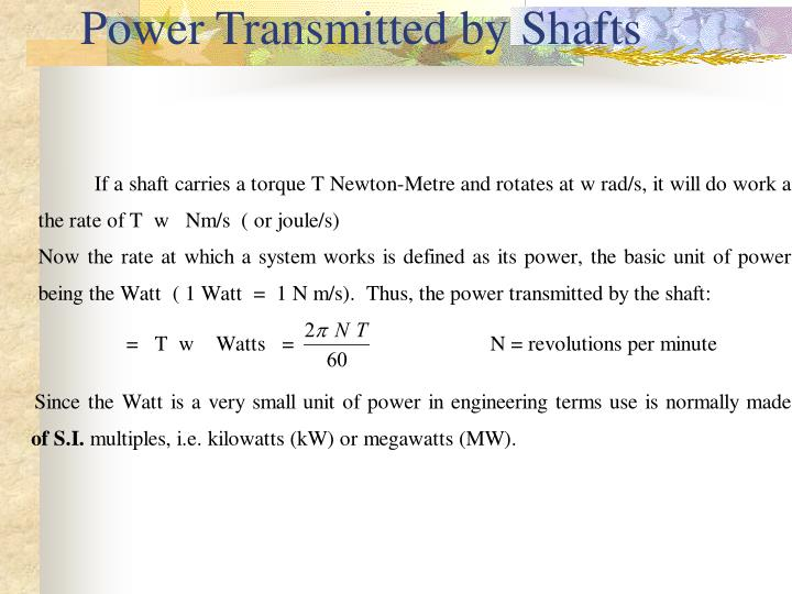 Power Transmitted by Shafts