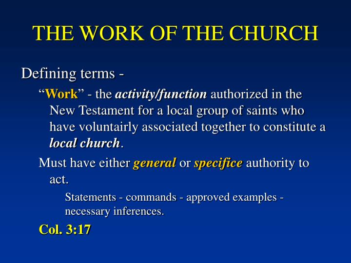 THE WORK OF THE CHURCH