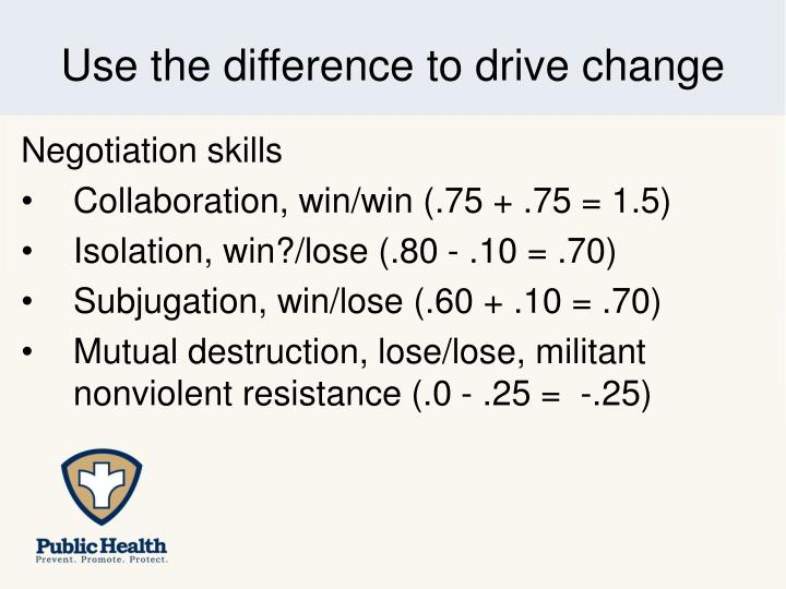 Use the difference to drive change