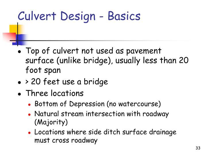 Culvert Design - Basics