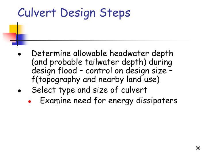 Culvert Design Steps