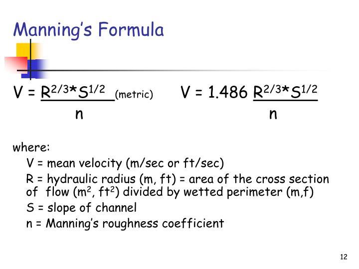 Manning's Formula
