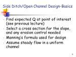 side ditch open channel design basics