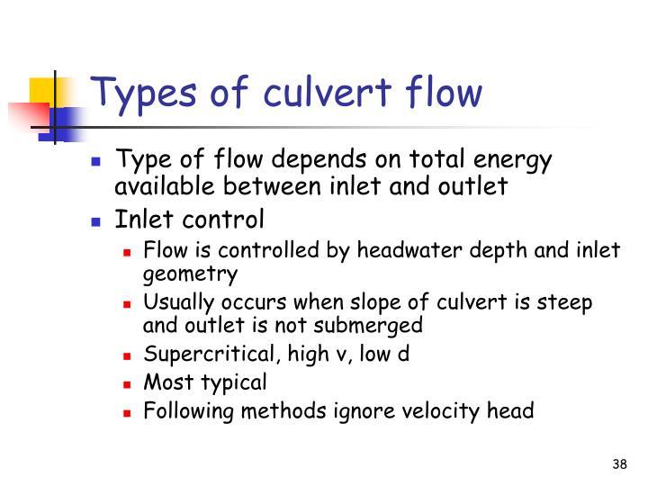 Types of culvert flow