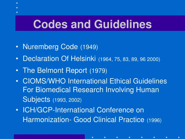Codes and Guidelines