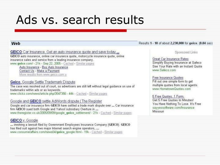 Ads vs. search results