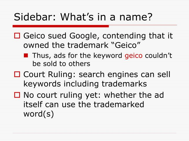 Sidebar: What's in a name?