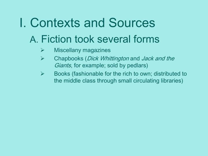 I. Contexts and Sources