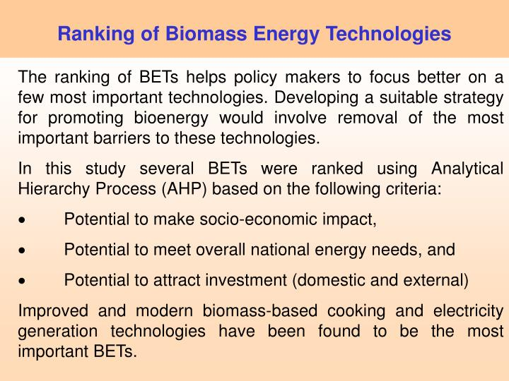 Ranking of Biomass Energy Technologies