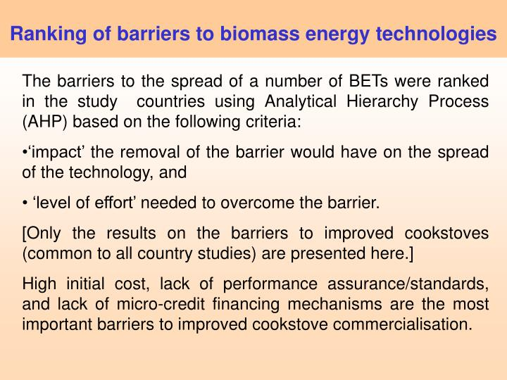 Ranking of barriers to biomass energy technologies