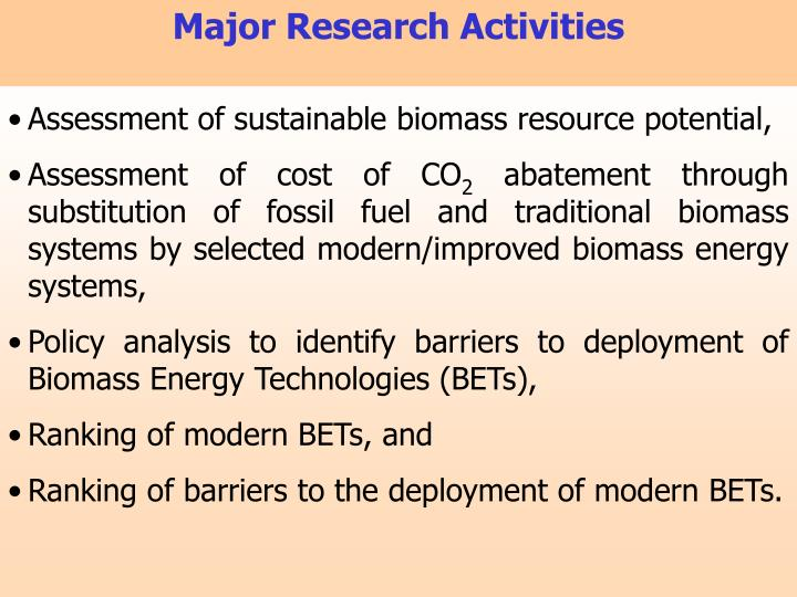 Major Research Activities