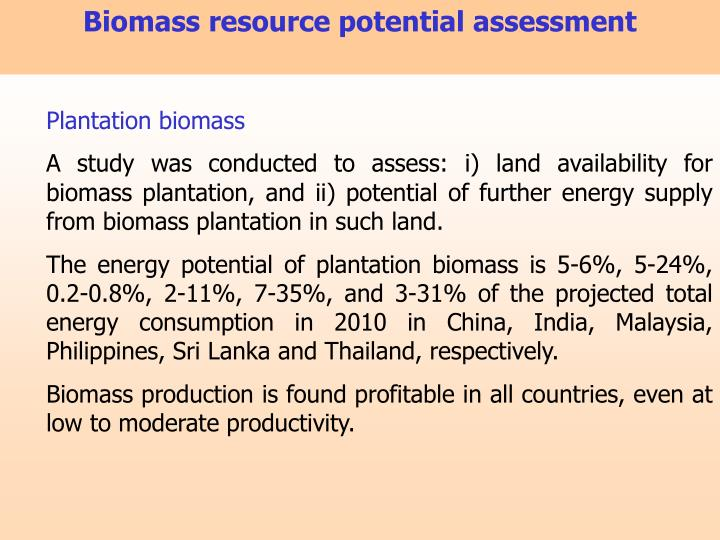 Biomass resource potential assessment