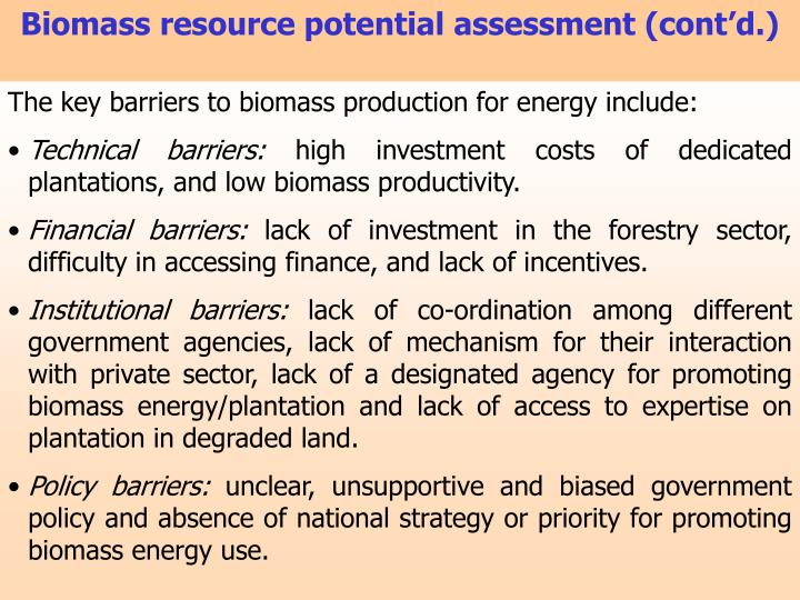 Biomass resource potential assessment (cont'd.)