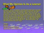 what my opinion is as a learner