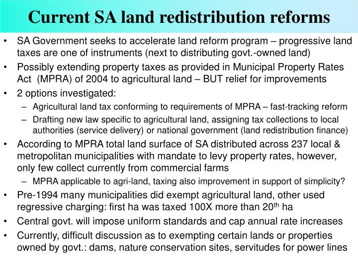 Current SA land redistribution reforms