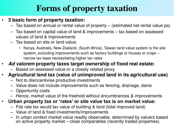 Forms of property taxation