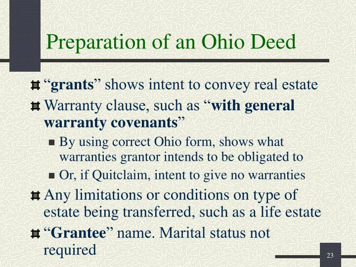 Preparation of an Ohio Deed