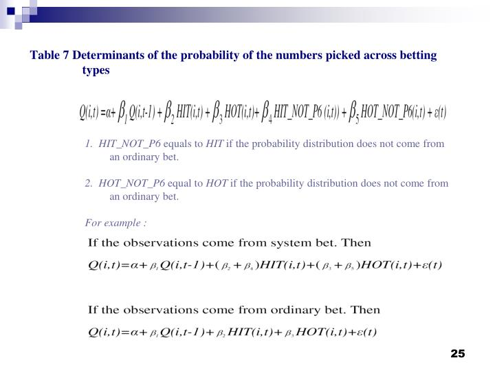 Table 7 Determinants of the probability of the numbers picked across betting  types