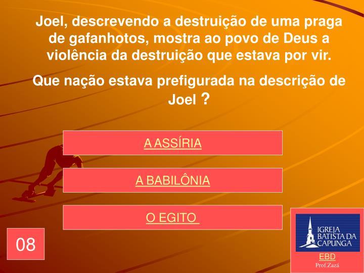 Joel, descrevendo a destruição de uma praga de gafanhotos, mostra ao povo de Deus a violência da destruição que estava por vir.