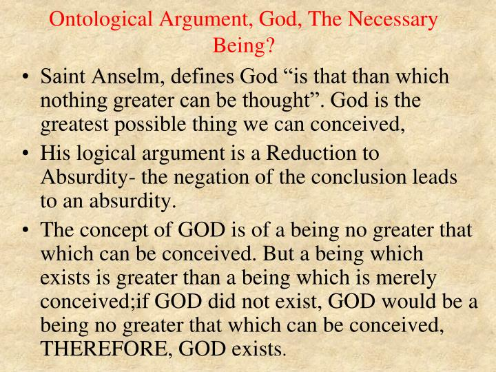 Ontological Argument, God, The Necessary Being?
