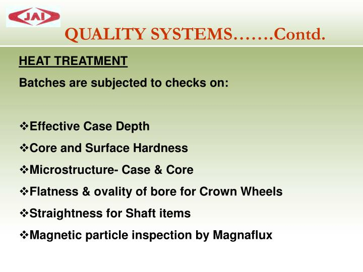 QUALITY SYSTEMS…….Contd.