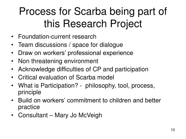 Process for Scarba being part of this Research Project