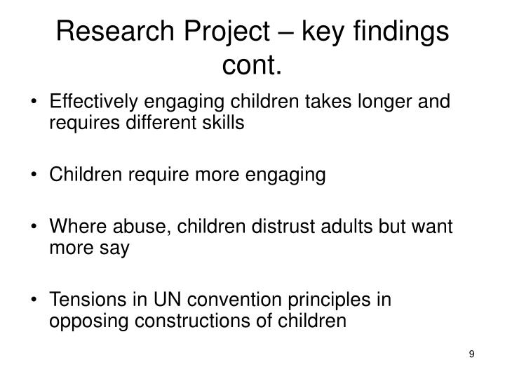 Research Project – key findings cont.