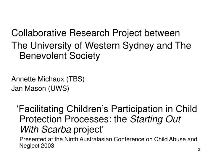 Collaborative Research Project between