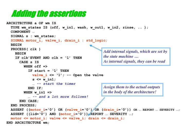 Adding the assertions