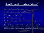 specific antiterrorism crimes